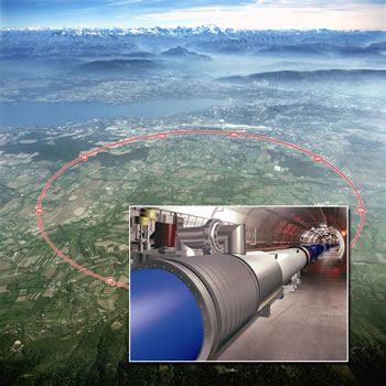 The Large Hadron Collider is placed in a tunnel 27 kilometers beneath France and Switzerland, between the Jura Mountains and the Alps. CERN's headquarters are near Geneva. (Images copyright CERN)
