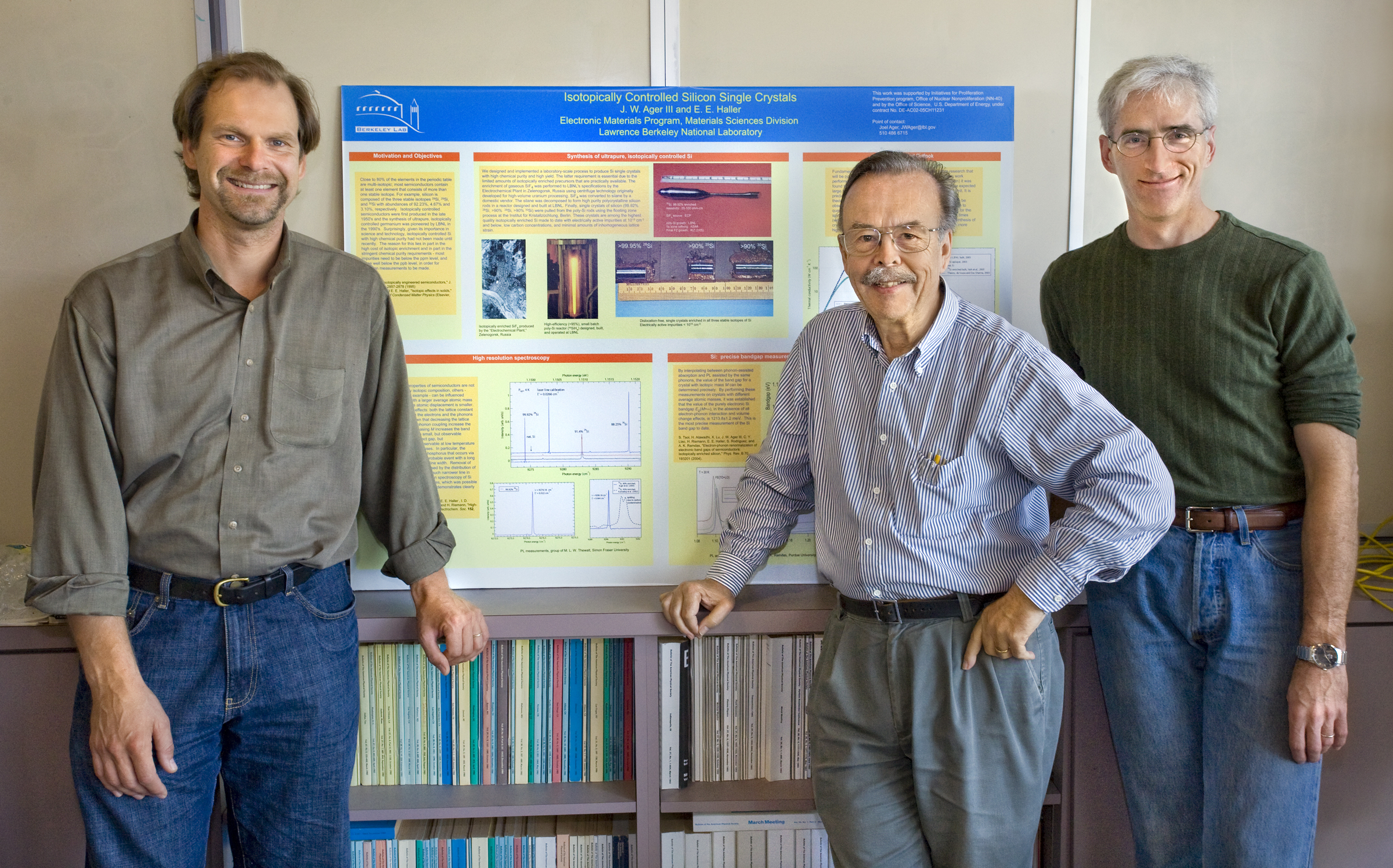 Berkeley Lab's Thomas Schenkel (left), Eugene Haller and Joel Ager were part of an international collaboration that demonstrated how atomic nuclei can function as solid state quantum memory. (Photo by Roy Kaltschmidt, Berkeley Lab Public Affairs)