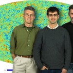 Julian Borrill, Radek Stompor, and Christopher Cantalupo in front of the high-resolution map of the CMB they produced using  tens of billions of samples of simulated Planck satellite data (Photo by Roy Kaltschmidt)