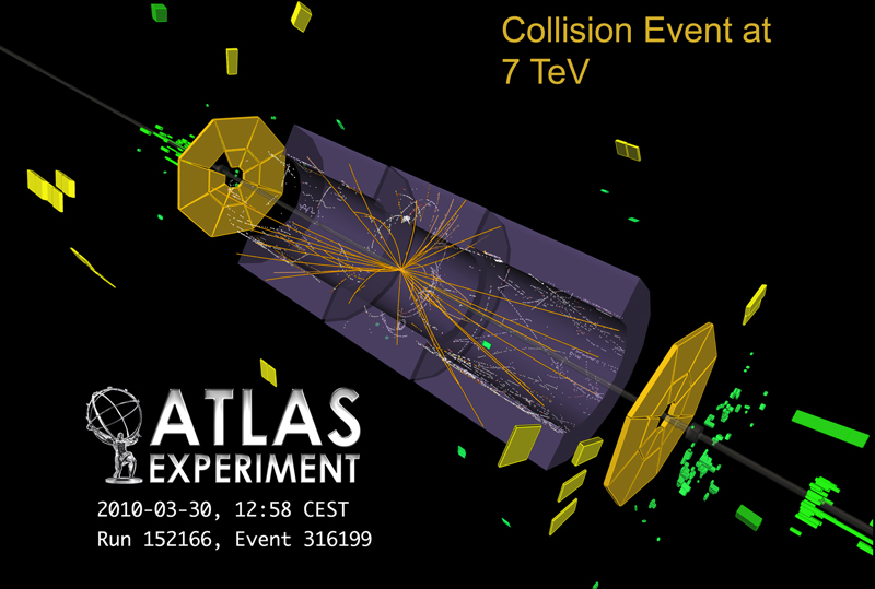 A 7 TeV proton collision recorded in the ATLAS experiment at the LHC. (Courtesy ATLAS experiment and CERN)