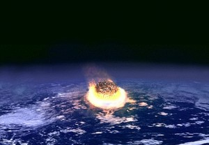 An international panel found in favor of a theory by Luis and Walter Alvarez that an asteroid impact with Earth 65 million years ago triggered the mass extinction of the dinosaurs. (artist's conception from NASA)