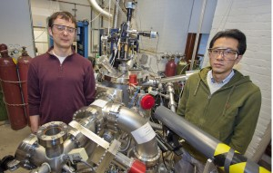 Jan Seidel (left) and Seung-Yeul Yang were the lead authors of a paper describing a new mechanism for the photovoltaic effect in semiconductor thin-films that overcomes previous bandgap voltage limitations. (Photo by Roy Kaltschmidt, Berkeley Lab Public Affairs)