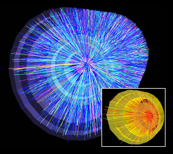 Particle tracks from some of the first collisions of lead nuclei in ALICE.