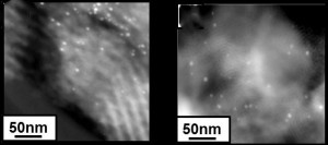 Heterogenized homogeneous nanocatalysts are sustainable as shown by these TEM images in which there is almost no difference in the cluster size of dendrimer-encapsulated gold nanoclusters before (D) and after (E) cyclopropanation reactions.