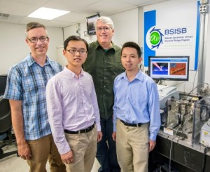 From left, Hans Bechtel, Zhiwen Shi, Michael Martin and Feng Wang were part of a research team that used the Adcvanced Light Source's Beamline 5.4.1 to observed Luttinger-liquid plasmons in metallic SWNTs. (Photo by Roy Kaltschmidt)