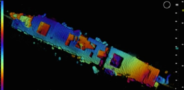 An image of the USS Independence from the Coda Octopus Echoscope 3D sonar, which was integrated on the Boeing Autonomous Underwater Vehicle (AUV) Echo Ranger. Credit: NOAA and Coda Octopus