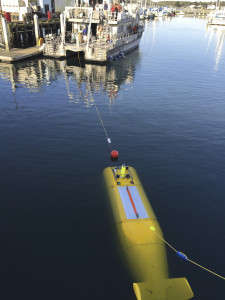 During the 2015 mission to survey the ex-USS Independence CVL 22, the Office of National Marine Sanctuaries' research vessel Fulmar served as the escort boat for Boeing's Autonomous Underwater Vehicle (AUV) Echo Ranger. The 67-foot aluminum catamaran research vessel's crew is preparing to tow Echo Ranger to sea. Credit: Robert V. Schwemmer, NOAA