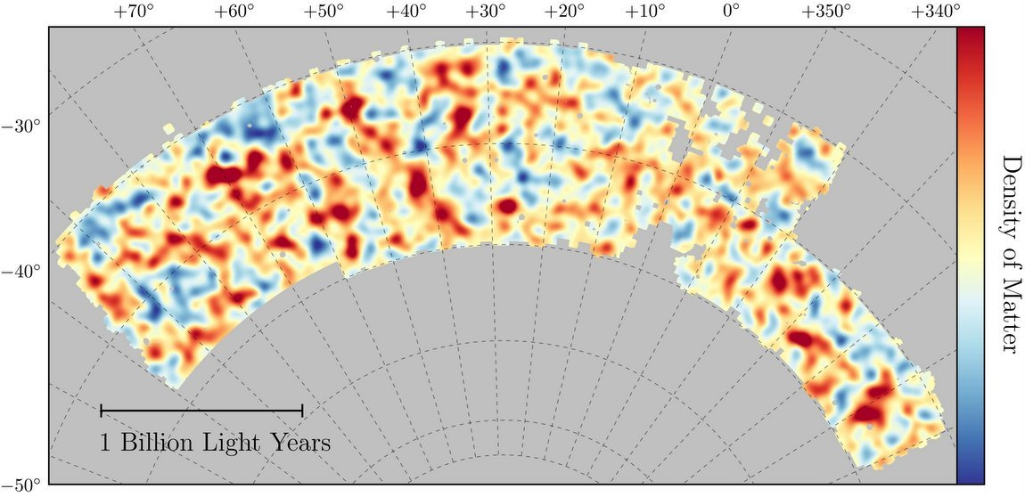 Image - Map of dark matter made from gravitational lensing measurements of 26 million galaxies in the Dark Energy Survey. The map covers about 1/30th of the entire sky and spans several billion light-years in extent. Red regions have more dark matter than average, blue regions less dark matter. (Credit: Chihway Chang/Kavli Institute for Cosmological Physics, University of Chicago; DES collaboration)