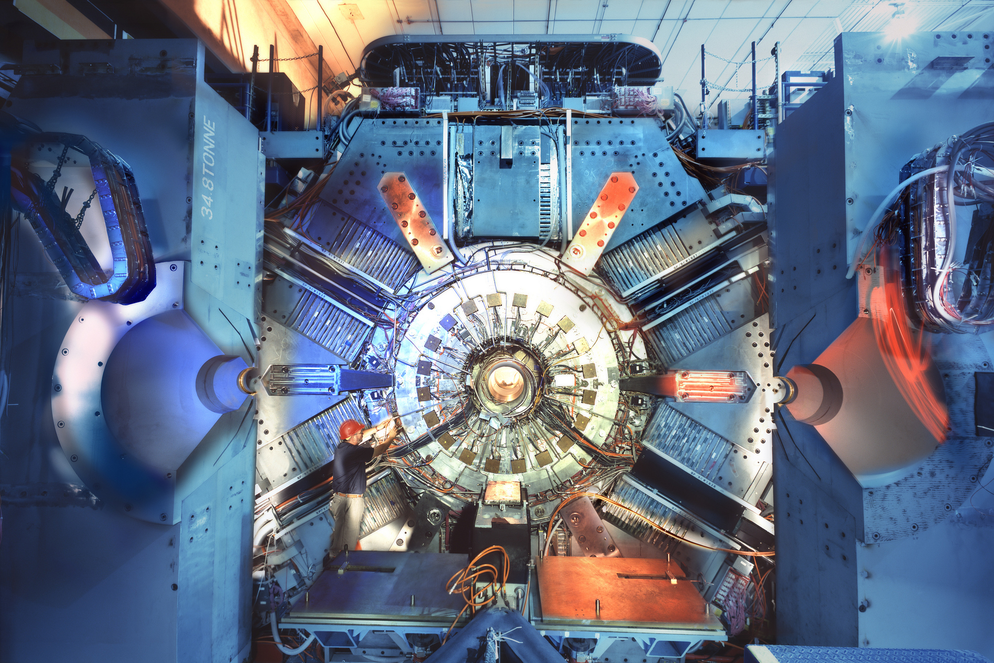 Photo - Data gathered from particle collider experiments using the BaBar detector at SLAC National Accelerator Laboratory, pictured here, were analyzed to search for traces of theorized dark matter particles known as dark photons. (Credit: SLAC National Accelerator Laboratory)