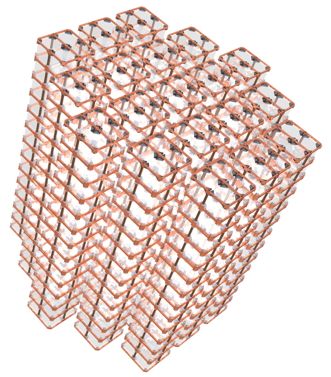 """Image - The CUORE detector array, shown here in this rendering, is formed by 19 copper-framed """"towers"""" that each house a matrix of 52 cube-shaped crystals. (Credit: CUORE Collaboration)"""