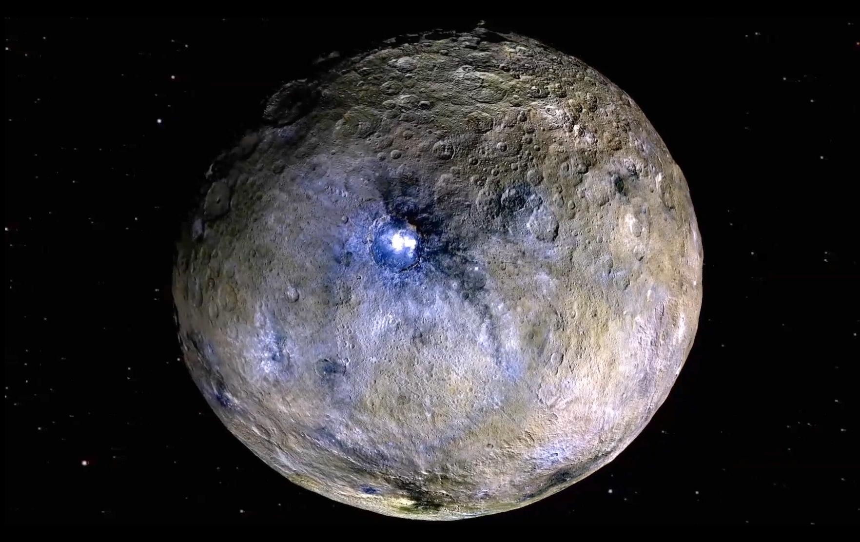 Image - Ceres, a dwarf planet in the asteroid belt pictured here in this NASA-produced false-color image, may be the source of organic matter found on two meteorites that crashed to Earth in 1998. (Credit: NASA)
