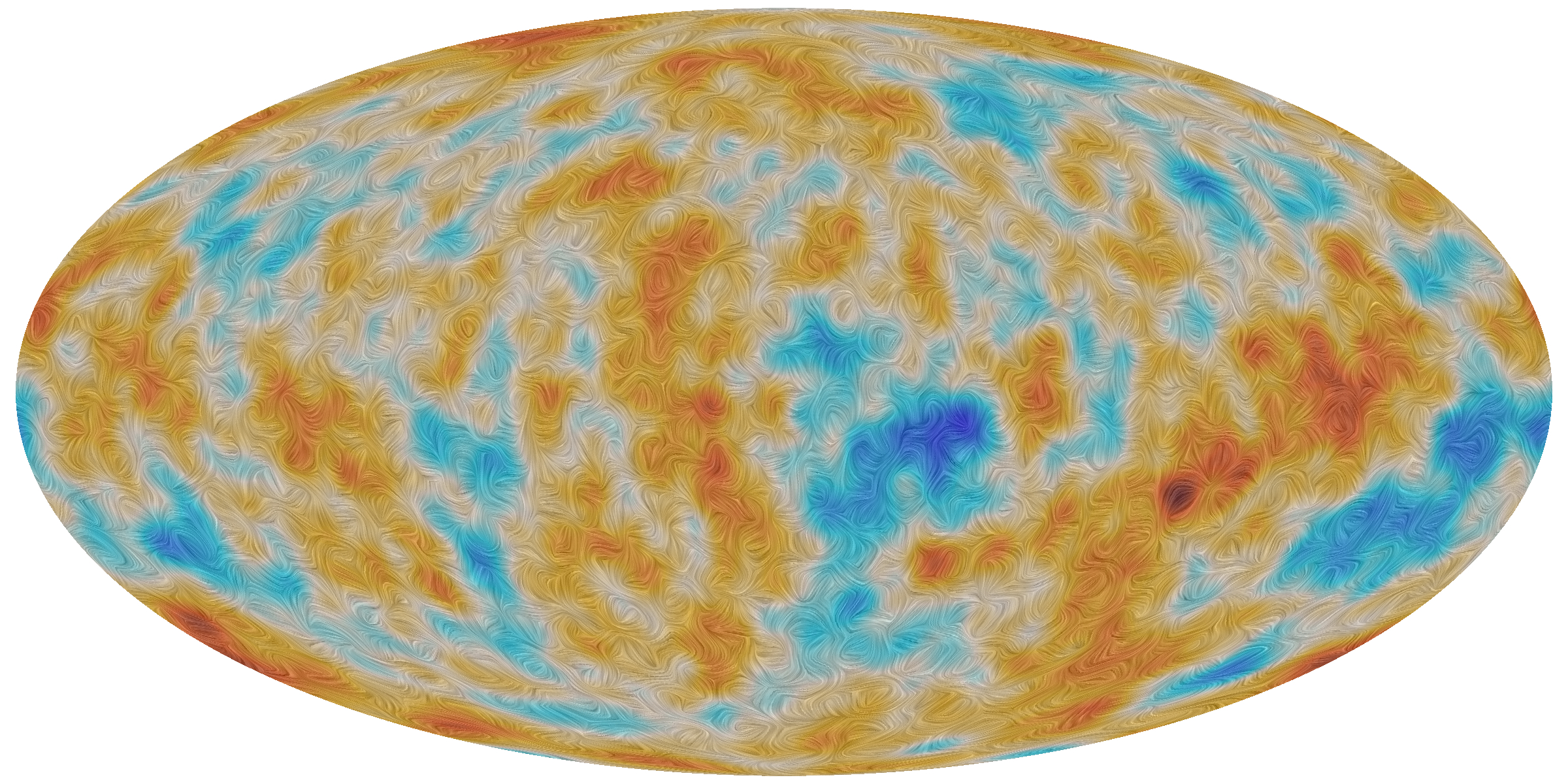 Image - A visualization of the polarization of the Cosmic Microwave Background, or CMB, as detected by ESA's Planck satellite over the entire sky. A small fraction of the CMB is polarized, meaning it vibrates in a preferred direction. In this image, the color scale represents temperature differences in the universe's cosmic microwave background, while the texture indicates the direction of the polarized light. (Credit: ESA and the Planck Collaboration)