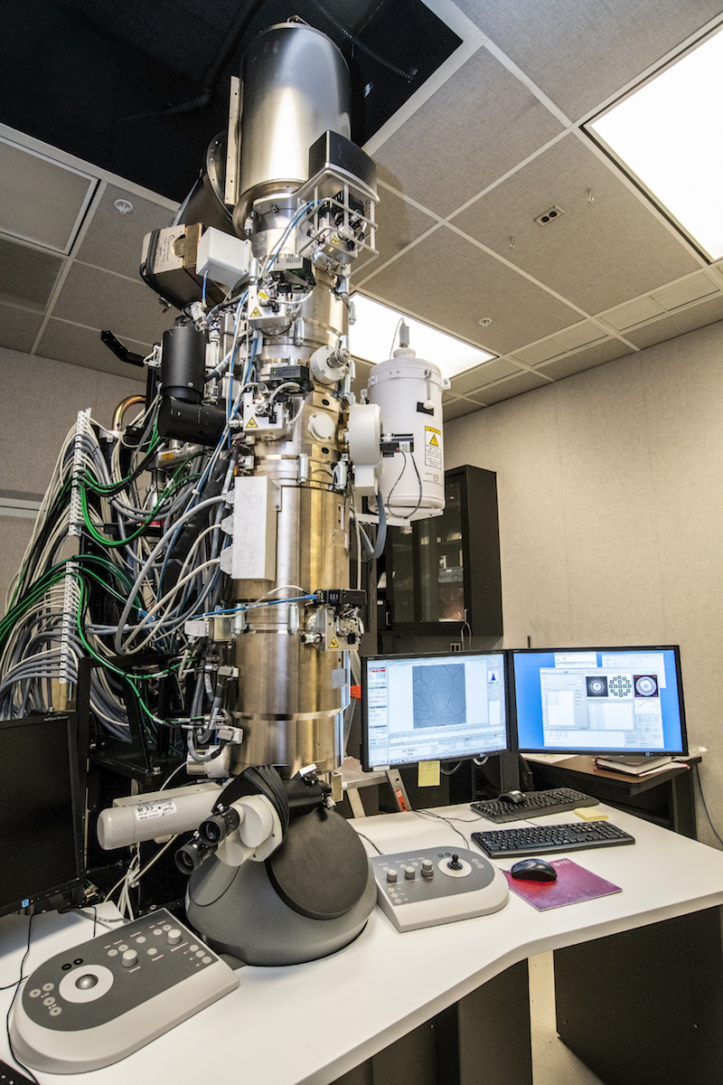"Photo - The high-stability, high-resolution Thermo Fischer ""ThemIS"" transmission electron microscope. (Credit: Marilyn Chung/Berkeley Lab)"