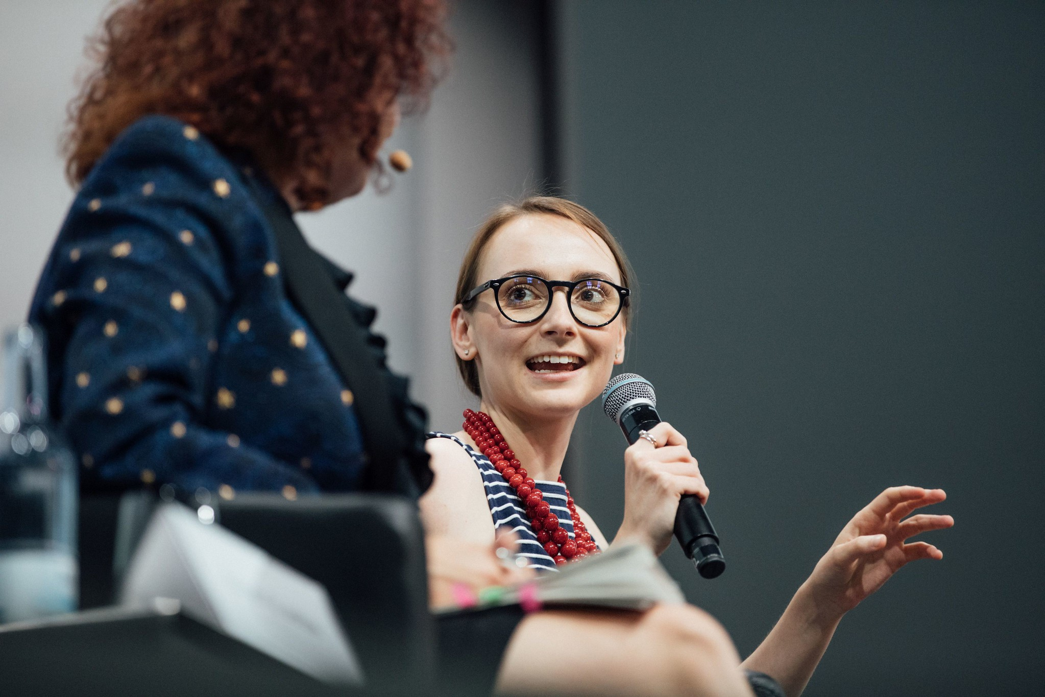 Photo - Maria Zurek, right, speaks during a discussion panel at the Linda Nobel Laureates Meeting. (Credit: Julia Nimke/Lindau Nobel Laureate Meetings)