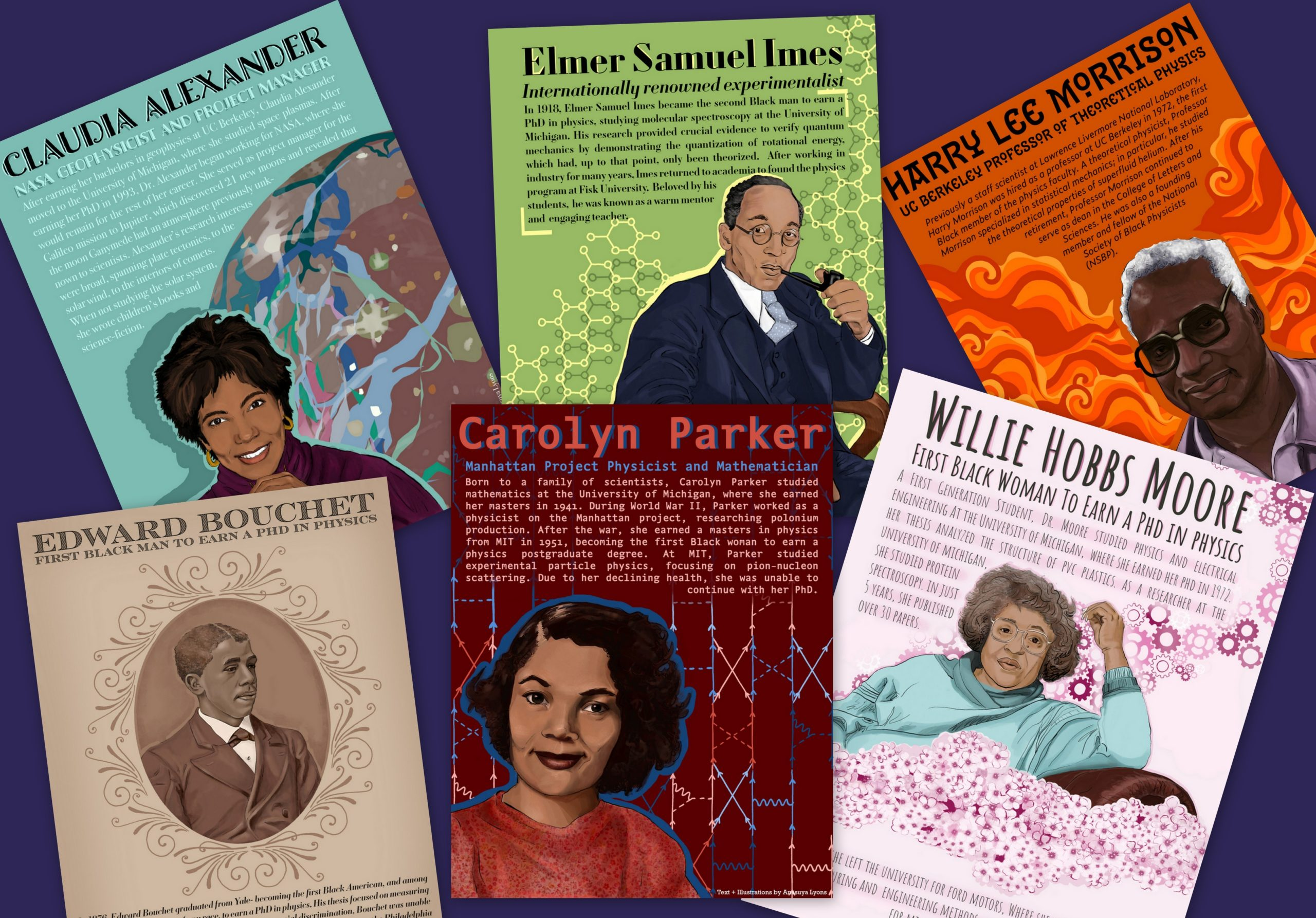 Collage - A collage showing the first six posters in Ana Lyons' series honoring black physicists. (Credit: Ana Lyons)