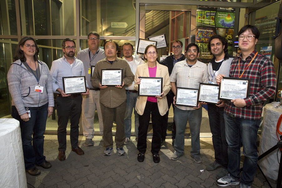 Image - Members of the COSMIC ptychography team receive the 2018 Klaus Halbach award, presented by ALS Users' Executive Committee member Ashley Head. From left: Ashley Head, David Shapiro, Rich Celestre, Lee Yang, Bjoern Enders, Susan James, Stefano Marchesini, Hari Krishnan, Kasra Nowrouzi, and Young-Sang Yu. (Credit: Berkeley Lab)