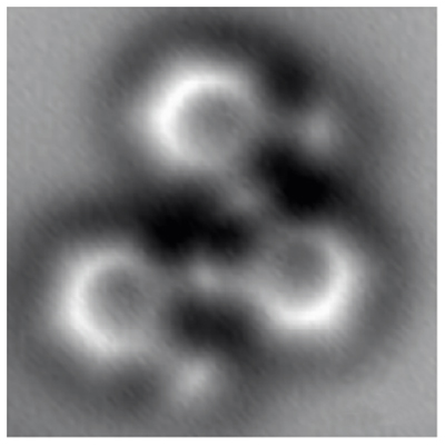 Almost as clearly as a textbook diagram, this image made by a noncontact atomic force microscope reveals individual atoms and bonds, in a molecule having 26 carbon atoms and 14 hydrogen atoms structured as three connected benzene rings.